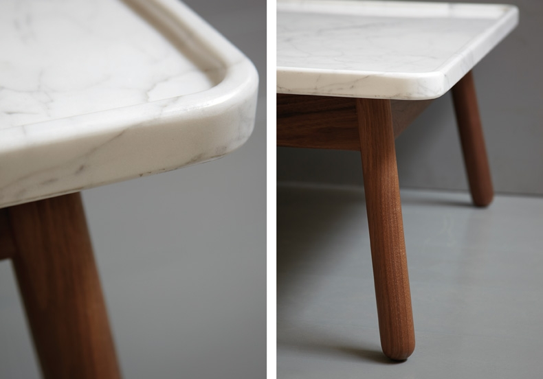 GT By Bethan Gray Beautifully Crafted Furniture Flodeau - Marble and wood side table