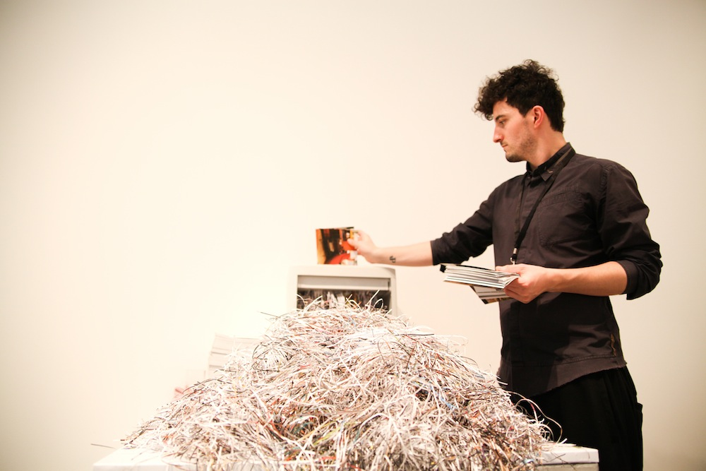 Design Days Dubai has donated a piece to an USA's Museum Jens Praet busy shredding who thought a shredder could be a design tool