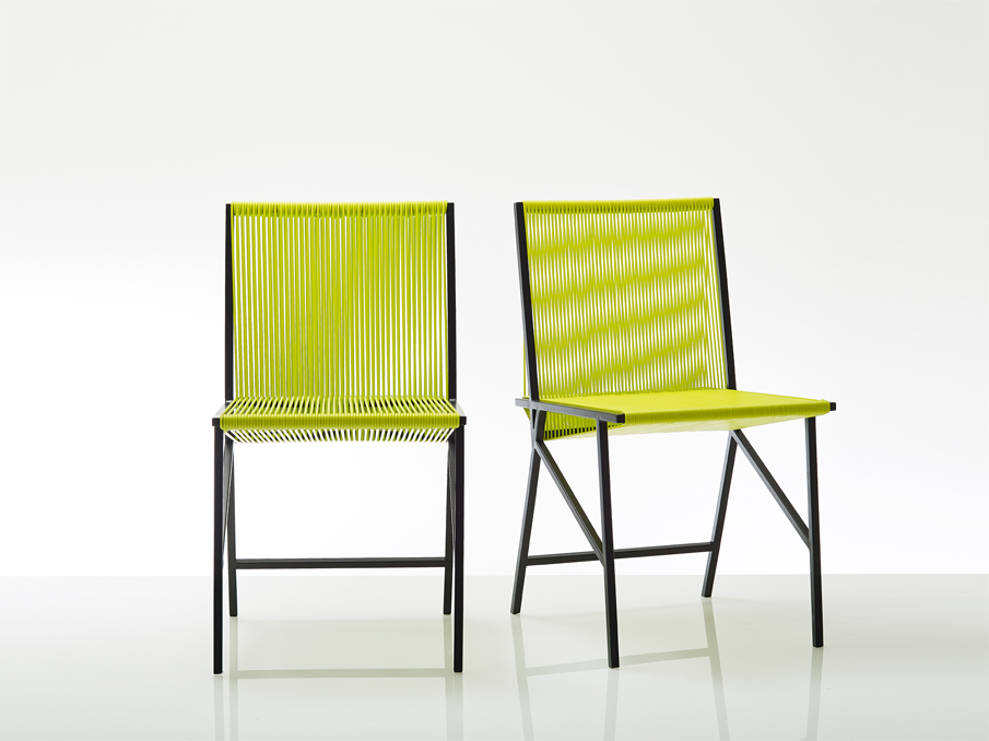 Yellow string chairs by Studio Pool
