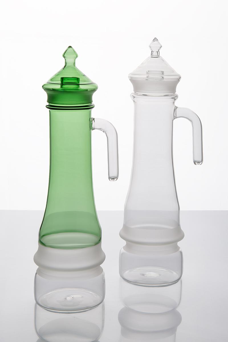 Vedovelle borosilicate glass bottles by Elena Salmistraro