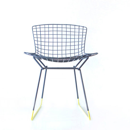 Custom Bertoia chair in slate grey and yellow by Cast + Crew