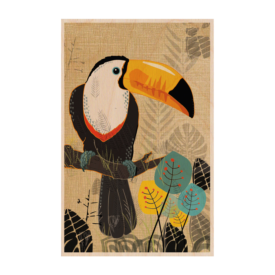 Toucan hand-printed wooden greeting card by Timbergram