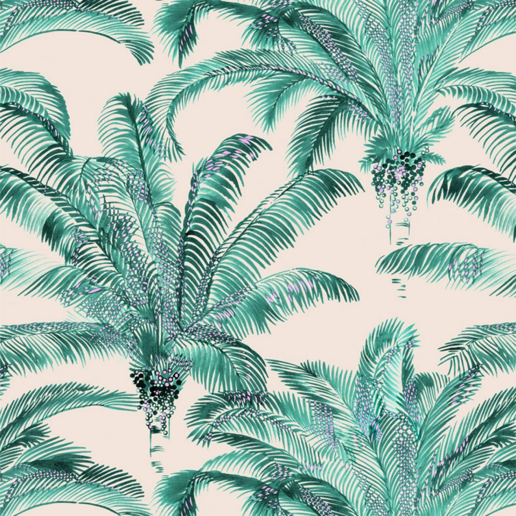 Bahia Emeraude textile by Inkfabrik for Thevenon