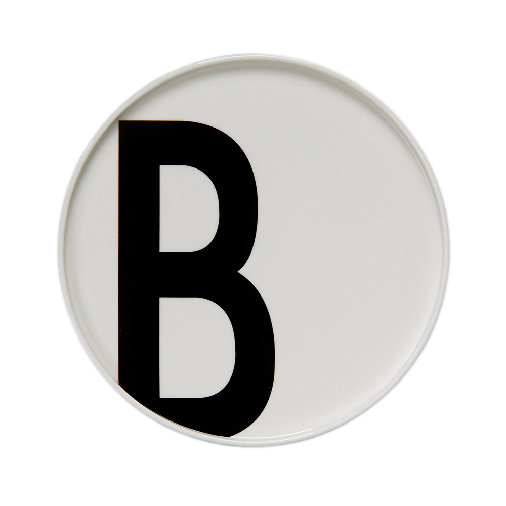 B plate featuring Arne Jacobsen's vintage ABC and numbers by Design Letters