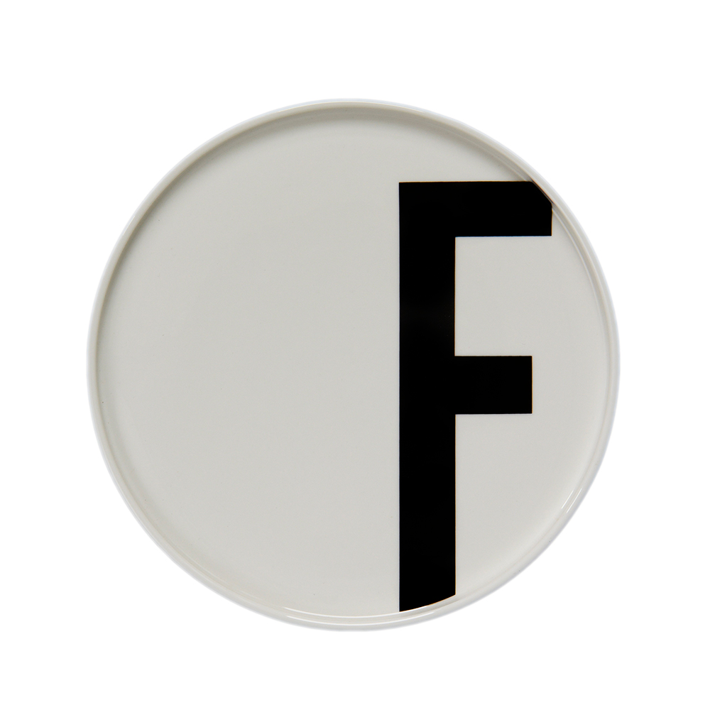F plate featuring Arne Jacobsen's vintage ABC and numbers by Design Letters