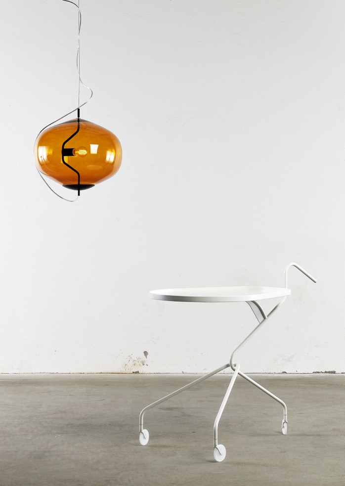Fondue hand-blown glass pendant lamp by Luca Nichetto and Loaded trolley by Richard Hutten for Swedish label David Design | Flodeau.com