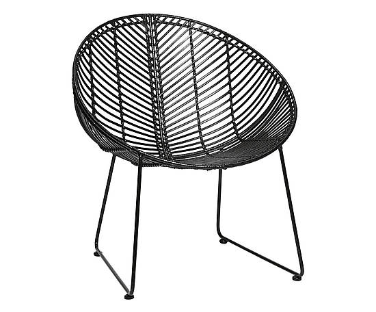 Black rattan & metal chair ELLA