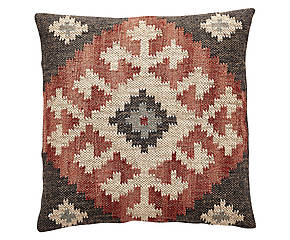 Ethnic hessian cushion GILES
